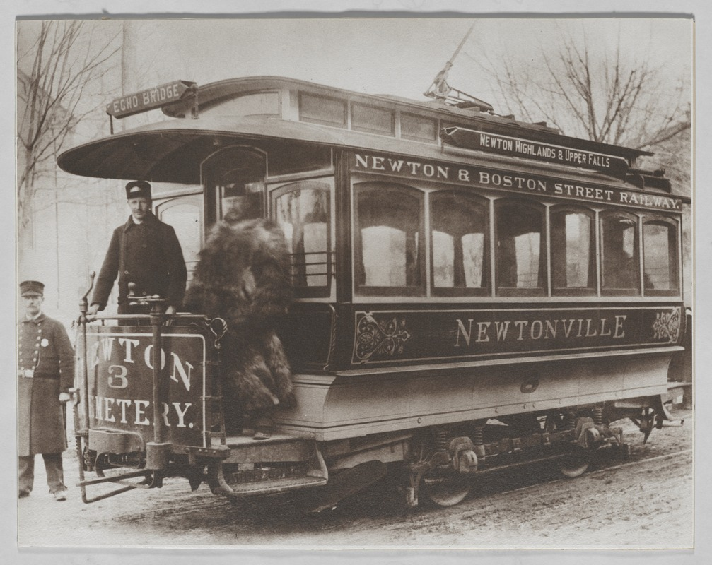 Newton photographs oversize : misc. sepia toned & mounted - Newton Highlands Street Railroad -