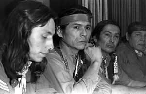 Native American advocate Russell Means at press conference, Boston University