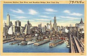 Downtown skyline, East River and Brooklyn Bridge, New York City