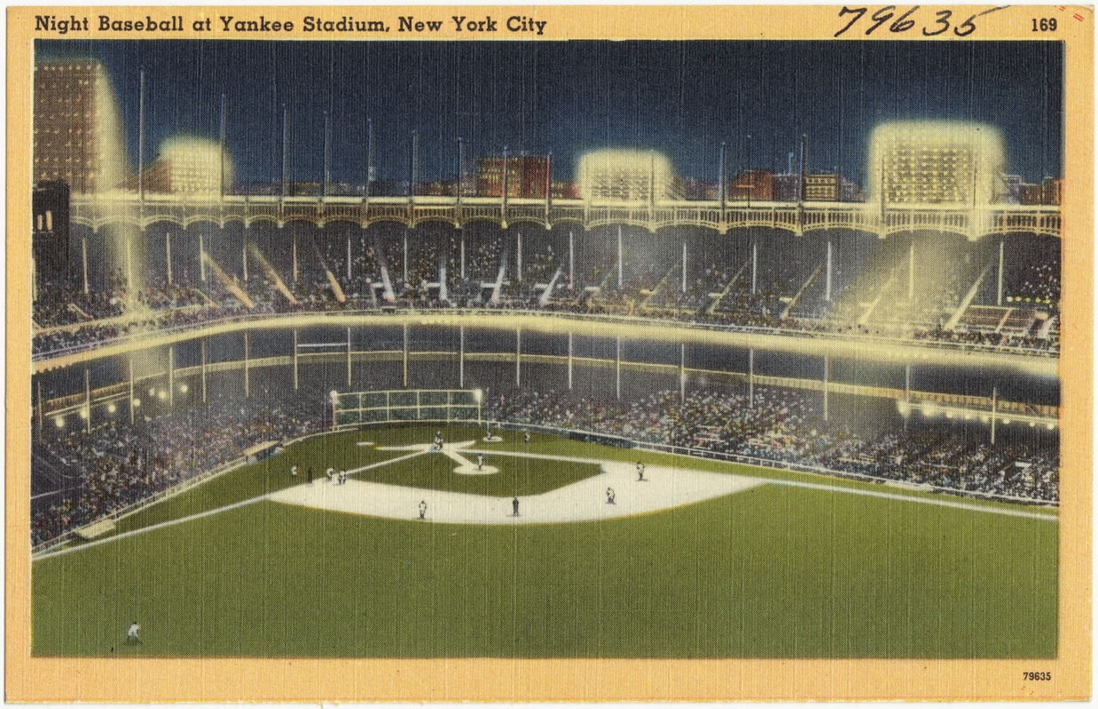 Night baseball at Yankee Stadium, New York City
