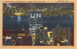 United Nations headquarters at night, New York City