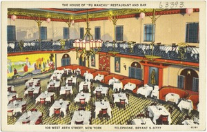 """The House of """"Fu Manchu"""" Restaurant and Bar. 108 West 49th Street, New York. Telephone, Bryant 9-9777"""