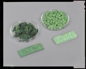 Food lab, AUSA exhibit, compressed F.D. peas + spinach bars before + after rehydration