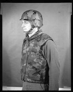 Side view vest & kevlar helmet