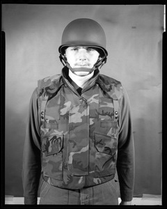 Armor branch, front view, vest + old helmet