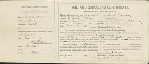 Age and schooling certificate, Ernest Humphrey
