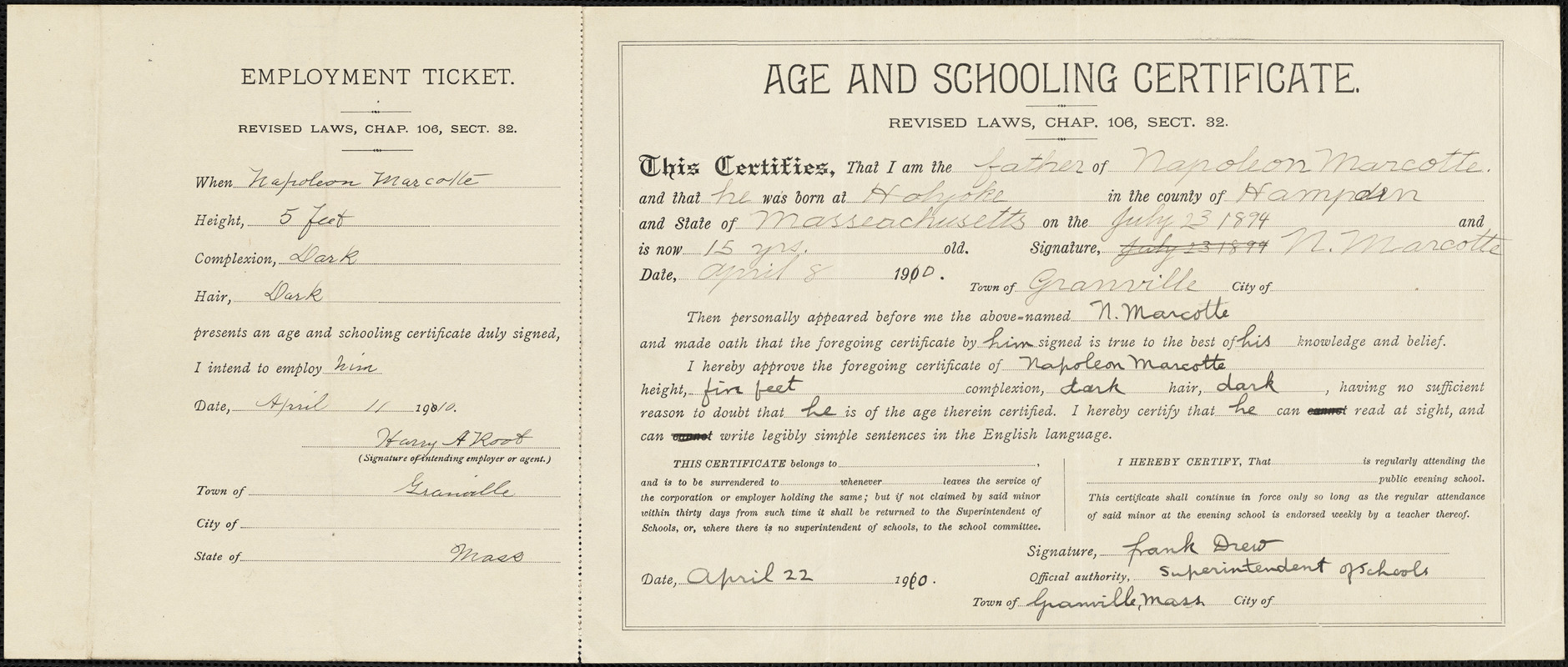 Age and schooling certificate, Napoleon Marcotte