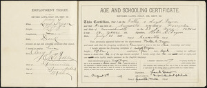 Age and schooling certificate, Loyd Tryon