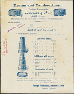 Lansendorf & Trost drums and tambourines