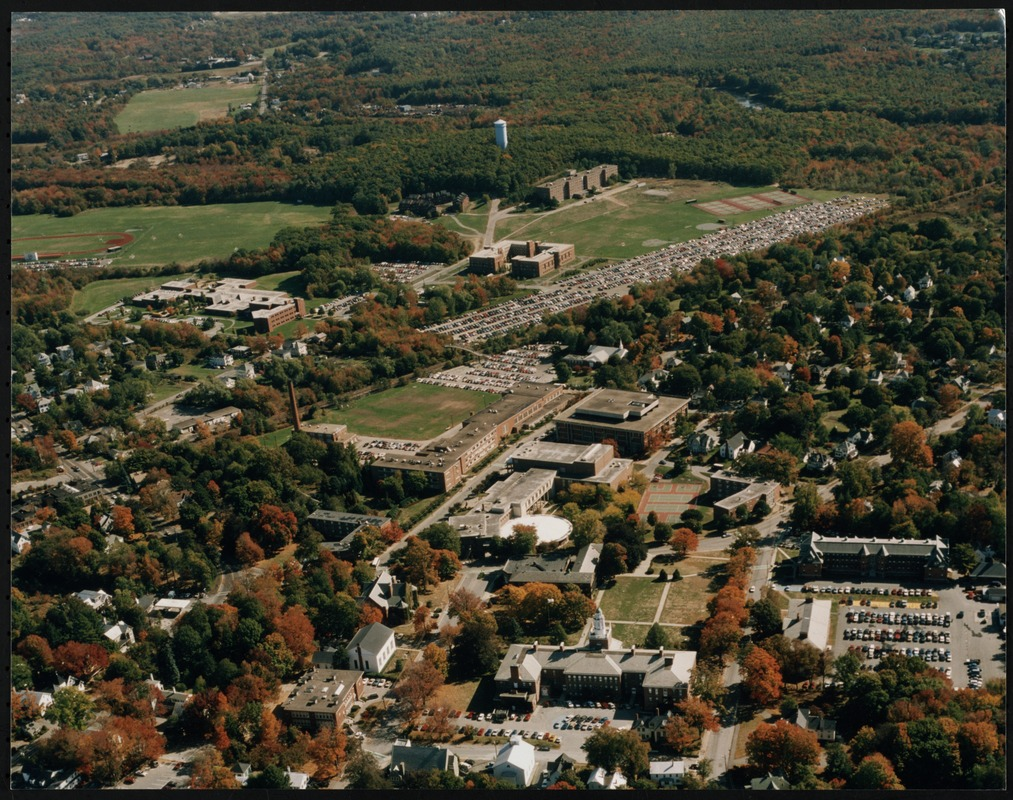 Aerial view of the Bridgewater State College campus