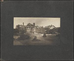 Schoolhouse and Main Building (Dana Hall), viewed from across Grove Street, c. Sept. 1899.