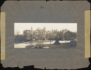 Schoolhouse and Main Building (Dana Hall), viewed from across Grove Street, c. 1911.