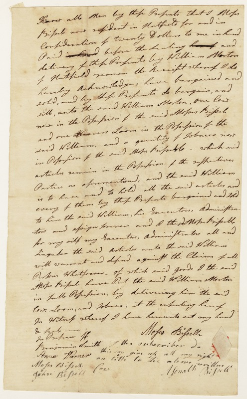 Bill of sale (handwritten); sale of Cow, Loom, and Tobacco by Moses Bissell [?] to William Morton, no date