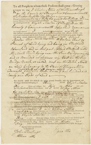 Land deed, Elisha Allis of Williamsburg to Elijah Morton, May 1, 1789