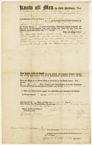 Deed to one-seventh part of Hadley saw mill; Nathanael Mountague of Hadley to Samuel Partridge, December 17, 1771