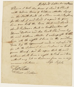 Handwritten agreement to relinquish rights to Indian corn harvest, Moses Bissell [?] to William Morton, September 24, 1800