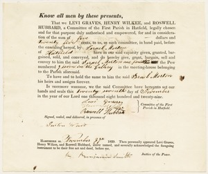 Deed to one-fourth of Pew 7 in the gallery of Hatfield First Parish meeting house; Levi Graves, Henry Wilkee, and Roswell Hubbard to Israel Morton,November 27, 1829