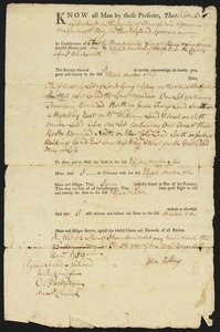 Deed, John Billing, Amherst, to Elijah Morton, 1759