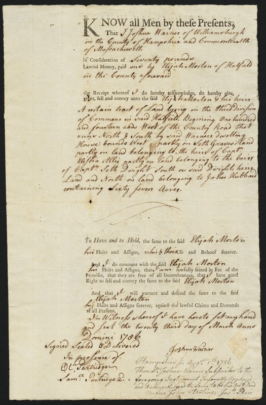 Deed, Joshua Warner, Williamsburgh, to Elijah Morton, 1786