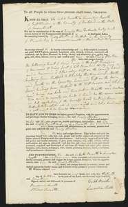Deed, Caleb Booth to Perez Morton, 1817