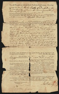 Deed, Martin Cooley of Deerfield to Martha Barstow of Sunderland, 1789