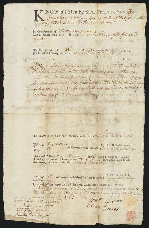 Deed, Israel and Oliver Graves to Samuel Partridge, 1761
