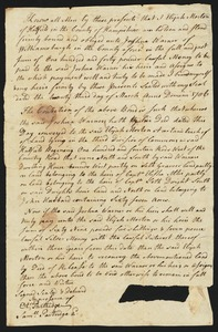 Bond, Elijah Morton to Joshua Warner of Williamsburgh, 1706 (?) or 1786