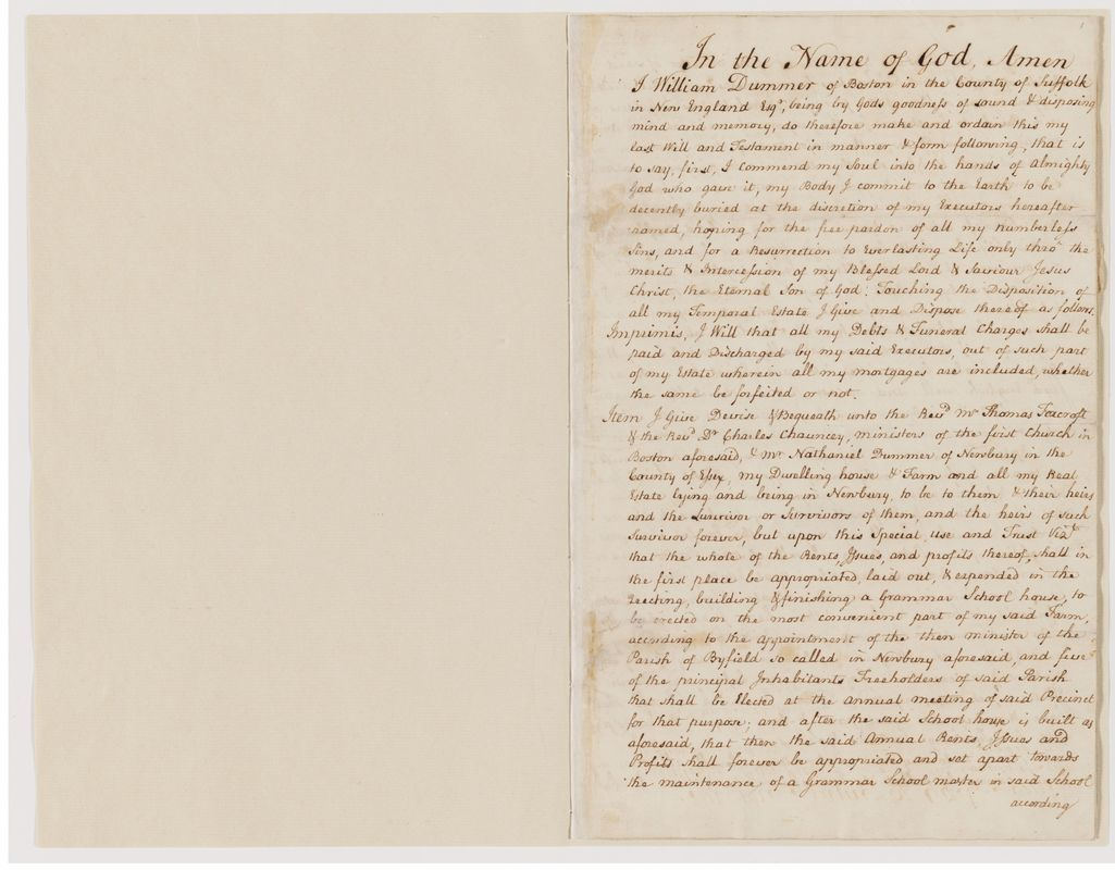 Will of William Dummer