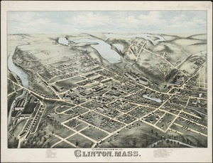 Bird's eye view of Clinton, Mass