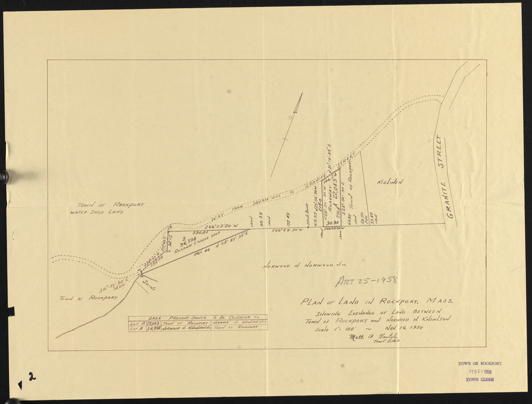 Plan of land in Rockport, Mass., showing exchange of land between Town of Rockport and Norwood H. Knowlton