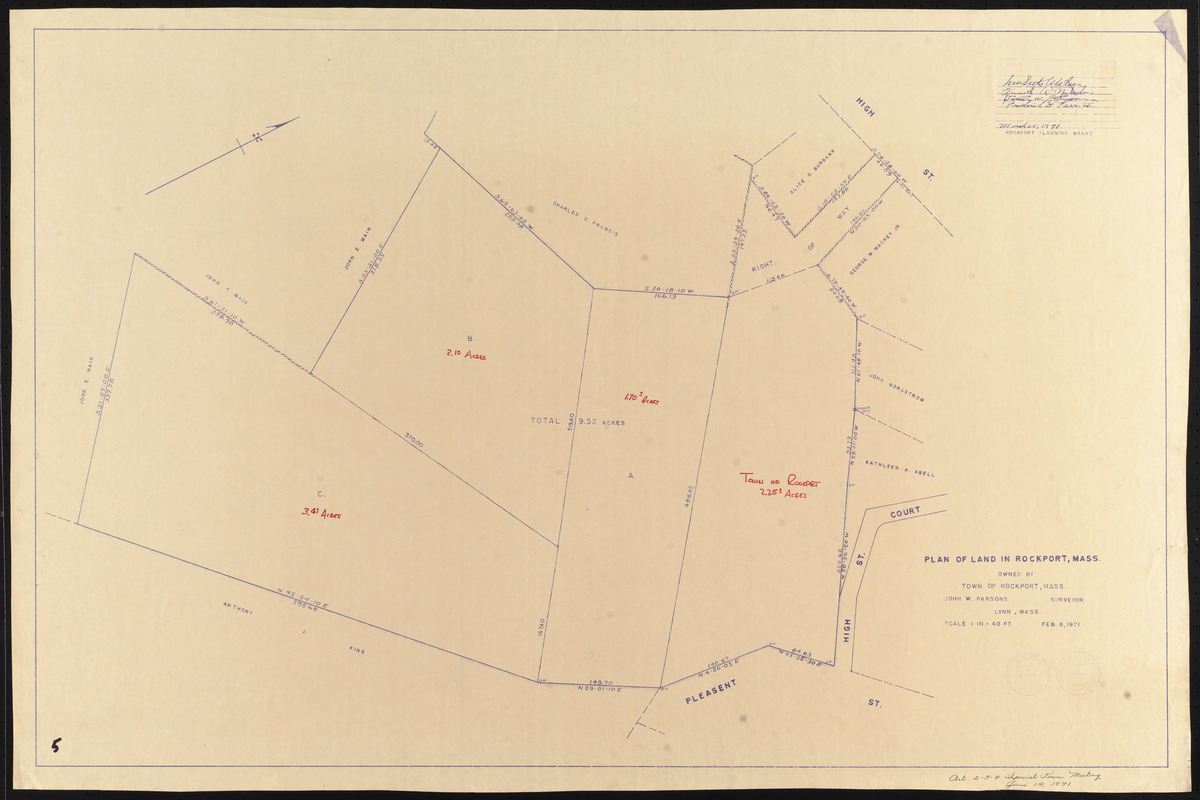 Plan of land in Rockport, Mass., owned by Town of Rockport, Mass.