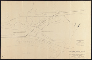 """Plan showing proposed location 8"""" water main from Thatcher Road to Long Beach, Rockport, Mass."""