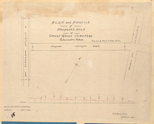 Plan and profile of proposed road in Locust Grove Cemetery, Gloucester, Mass.
