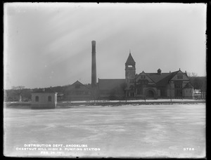 Distribution Department, Chestnut Hill High Service Pumping Station, Effluent Gatehouse No. 2 in foreground, Brighton, Mass., Feb. 28, 1901