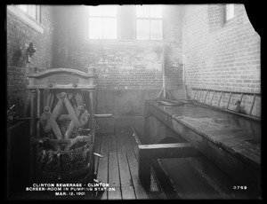 Clinton Sewerage, screen room in Pumping Station, Clinton, Mass., Mar. 12, 1901