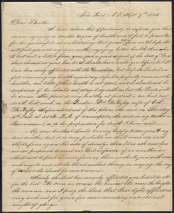 Letter to his brother William, 9/9/1834, includes photograph of a woman