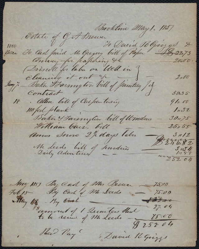 Account of the estate of G. A. Brewer
