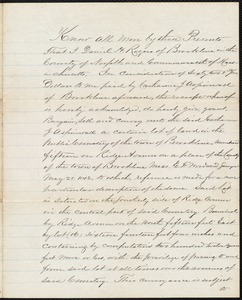 Deed for cemetery plot from Daniel H. Rogers to Catherine Aspinwall