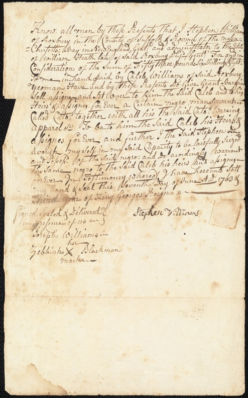 Bill of sale for a slave