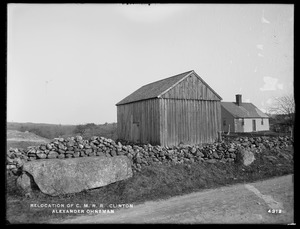 Relocation Central Massachusetts Railroad, Alexander Ohnsman's barn, from Clamshell Road, Clinton, Mass., Apr. 28, 1902
