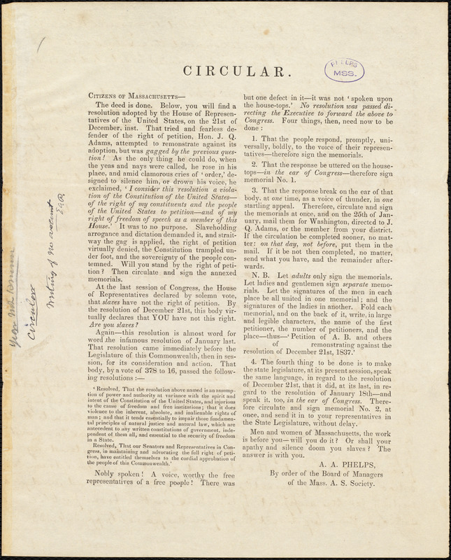 Circular by Amos Augustus Phelps, Mass., [Between 1837 and 1847]