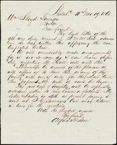 Letter from Alfred Harry Love, Philad[elphi]a, [Pa.], to William Lloyd Garrison, [November] 19. 1863