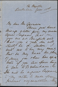 Letter from Agnes MacDonnell, Beckenham, [England], to William Lloyd Garrison, June 15th [1877]