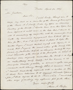 Copy of letter from Amos Augustus Phelps, Boston, to Francis Jackson, April 30, 1839