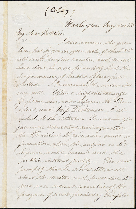 Copy of letter from William Darrah Kelley, Washington, [D. C.], to James Miller M'Kim, May 1st, '64