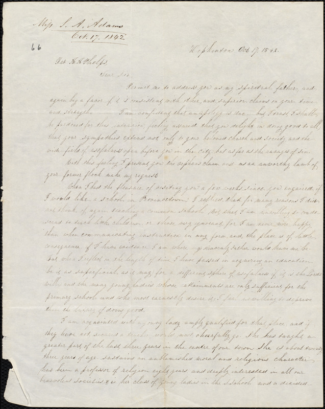 Letter from Sarah Ann Adams, Hopkinton, to Amos Augustus Phelps, Oct. 17 1842