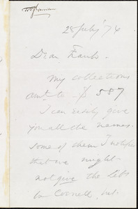 Letter from Wendell Phillips, to Francis Jackson Garrison, 28 July [18]76
