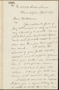 Letter from Enoch Lewis, Philadelphia, [Pa.], to William Lloyd Garrison, Sept[ember] 8. 1877