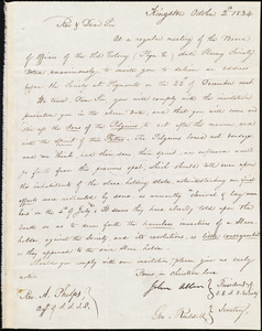 Letter from the old Colony Anti-Slavery Society, Kingston, to Amos Augustus Phelps, October 2 1834