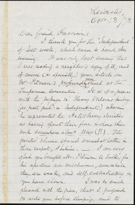 Letter from Samuel May, Jr., Leicester, [Mass.], to William Lloyd Garrison, Oct[ober] 13 / [18]73
